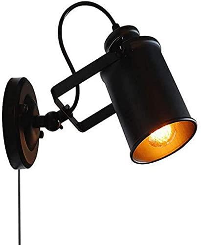Lámparas de Pared,Aplique de pared para interiores Focos de pared de ángulo ajustable Cafe Bar Lámpara de pared Industrial Vintage Brazo giratorio de metal negro E27 Apliques de pared en iluminaci