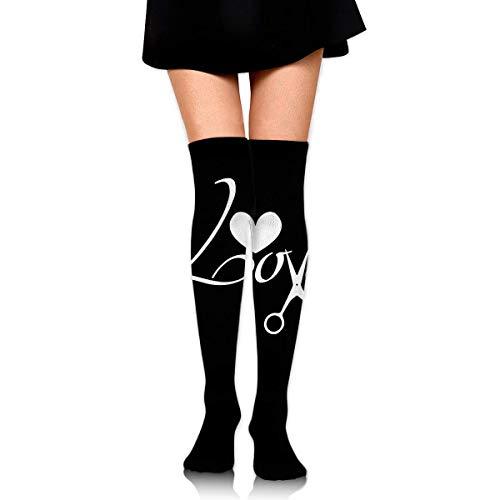 Nice-Guy Liebe Schere Barber Hairstylist Frauen sexy Oberschenkel hohe Socken über dem Knie hohen Strumpf