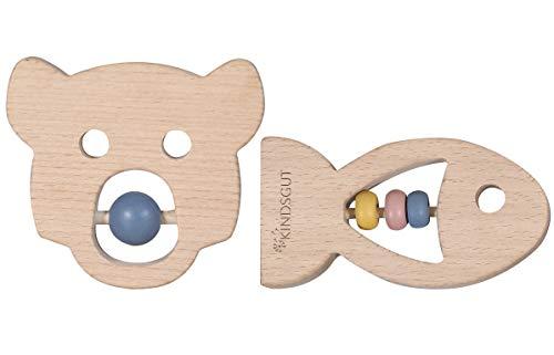 Kindsgut Beißring-Set für Babys, aus naturbelassenem Holz, schöne Formen und dezente Farben, ideal als Geschenk zur Geburt, für das erste Greifen und Zahnen, Greifling