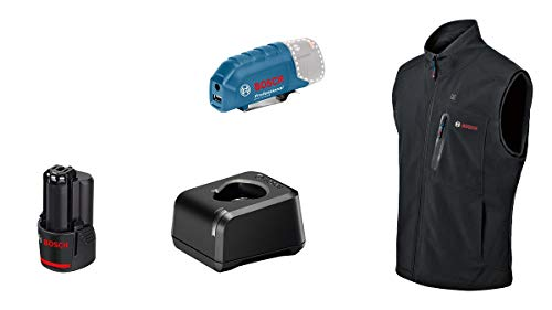 Bosch Professional Beheizbare Weste GHV 12+18V XA (inkl. USB-Ladeadapter GAA 12V-21 + GBA 12V 2.0Ah Akku +...