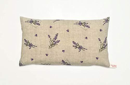 Lavendelkissen zum Schlafen - TUTGUT-Kissen Maxima gefüllt mit Bio-Dinkelspelz und Lavendelblüten aus Frankreich, Größe 41 x 23 cm, Motiv: Lavendel mit Herzchen - Natur in grober Weboptik