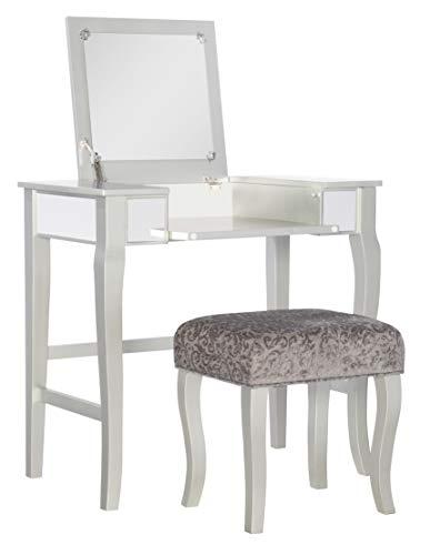 Linon Silver Harper Vanity Set, 32' W x 18' D x 46.75' H