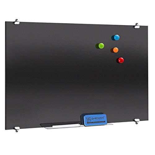 Pizarra magnética de cristal negra de 150 x 120 cm, pizarra blanca de borrado en seco sin marco para pared, 2 marcadores, 1 borrador, 1 bandeja para bolígrafos
