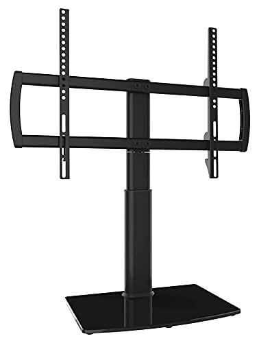 WECDS Soporte universal giratorio para TV, mesa de 4 niveles, altura ajustable, resistente y resistente base de vidrio templado (color negro)