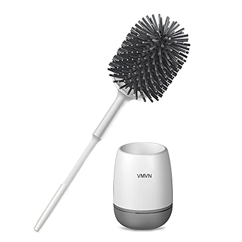 VMVN Toilet Bowl Brush and Holder,Compact Toilet Cleaner Brush Set for Bathroom Deep Cleaning ,Silicone Bristles Toilet Scrubber