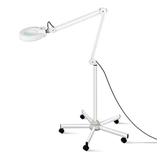 Vergrootglas lamp met voet, loep lamp dimbaar met LED-licht, werklamp cosmeticalamp geschikt voor cosmeticasalons praktijken, knutselhulp, rolstatief, 3,5 dioptrie-lens