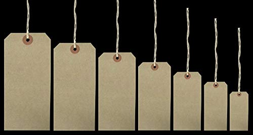 5 X 50 Reinforced Brown Buff Luggage Tags Labels with String Strung Suitcase Ties 96 x 48mm