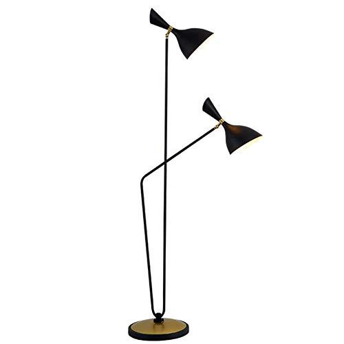 CLJ-LJ Lámpara de pie simple y moderna ajustable con doble cabeza Bevel cuerno negro 1,6 m Lámpara de pie con interruptor de pedal para salón, dormitorio, mesilla de noche, lectura oficina