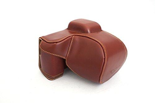 TP Handgjord äkta läder fullkamerafodral väskfodral för Sony NEX5N NEX-5N flash version brun färg
