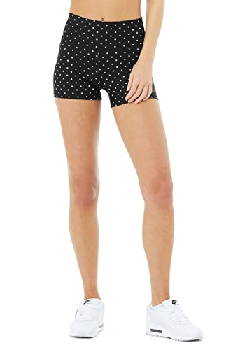 Alo Yoga Women's Airlift High Waist Polka Dot Short, Black White, XX-Small
