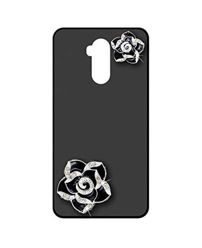 Sunrive Kompatibel mit Ulefone Power 3L Hülle Silikon,Glitzer Diamant Strass Handyhülle matt Schutzhülle Etui 3D Hülle Backcover (Schwarze Blume) MEHRWEG+Gratis Universal Eingabestift