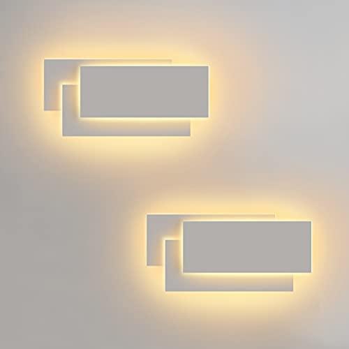 LEDMO 2Pezzi Applique da Parete Interni 12W Moderno Lampade da Parete IP20 Bianco Caldo 3000K Applique Interni Decorativa per Soggiorno, Camera da Letto, Corridoio, Scale