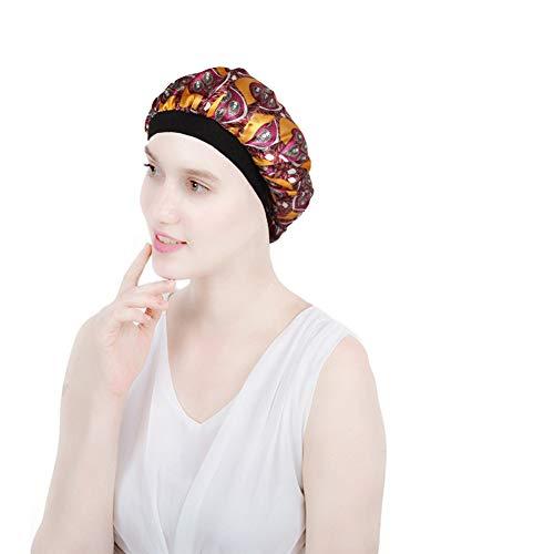 ZYCC Capot de Sommeil de Chapeau de Satin à Large Bande, Femmes de Coup de Chapeau de Cancer de pour Le Sommeil/Cancer/Chimio/Perte de Cheveux (Cercle Jaune)
