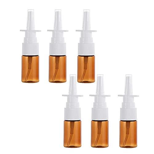 QUUPY 6 unidades de 10 ml botellas vacías de cristal marrón para pulverizador nasal, rellenables, maquillaje, agua, recipiente de viaje