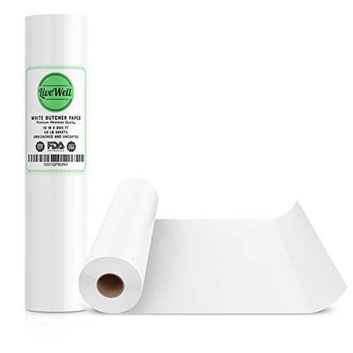White Kraft Butcher Paper Roll USA - 18In x 200Ft (2400 Inch) - Food Grade – Great Smoking Wrapping Paper for Meat of all Varieties – Made in USA – Unwaxed and Uncoated