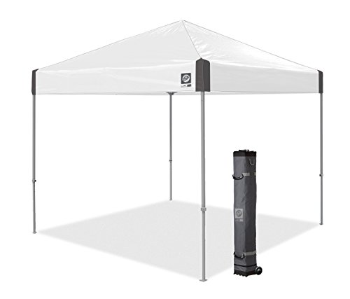 E-Z UP AMB3SSGF10WH Ambassador, 10' x 10', Roller Bag and 4 Piece Spike Set, White Slate Instant Tent Shelter Canopy