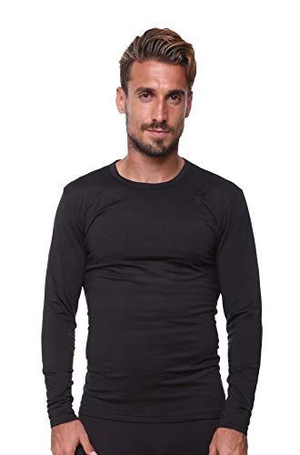 UltraDry Men Thermal Underwear Top by Outland; Base Layer; Soft Lightweight Warm Fleece (Black, 3X-Large)
