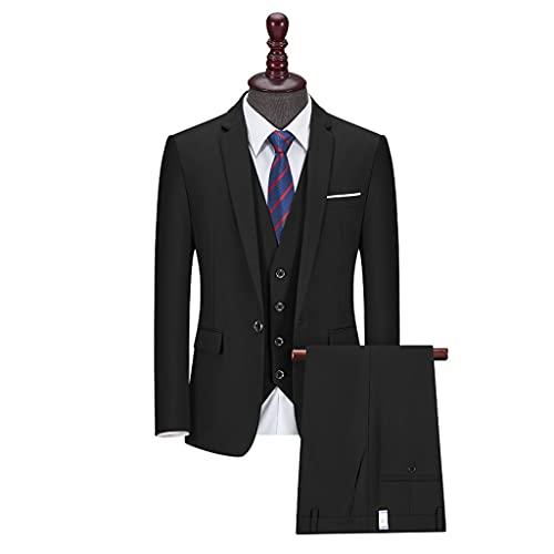 LEPSJGC ファッションメンズスーツスリーピーススーツスリムビジネススーツスーツ (Color : Black, Size : XXL code)