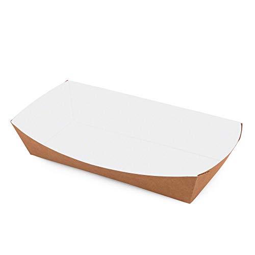 Confezione da 50 vassoi da 800 ml in carta da asporto, contenitori per alimenti usa e getta, biodegradabili, ecologici, riciclabili (50, 800 ml)