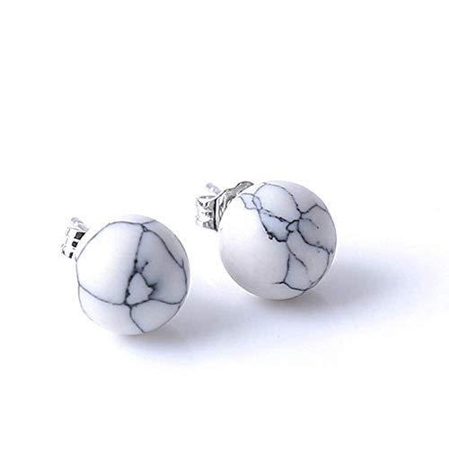 Carry stone Premium Qualität Frauen Einfache Mode Faux Türkis Marmor Ball Ohrstecker Ohrringe Schmuck Geschenk - Weiß