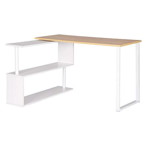 Escritorio de oficina para ordenador en forma de L con estantes plegable, estación de trabajo para ordenador y juegos de escritorio para el hogar (color: amarillo)