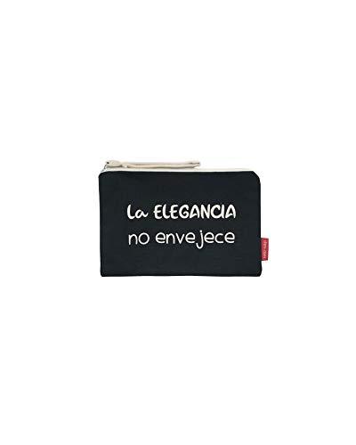 Hello-Bags Bolso Neceser/Cartera de Mano Algodón 100% Negro con Cremallera y Forro Interior 23 * 15,5 cm Incluye sobre Kraft de Regalo