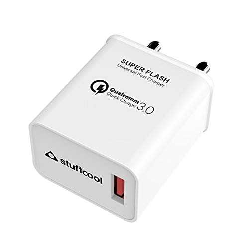Stuffcool Super Flash 18W Qualcomm QC 3.0 Quick Charge USB Universal Compatible Wall Super-Fast, Dash, AFC Charger/Adapter Compatible with All iOS & Android Devices - White