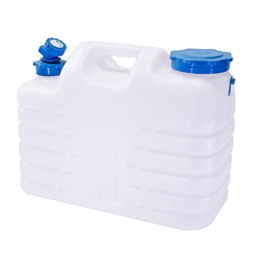 ADAGG Contenedor de agua con tapa y grifo, 10.5L/16L/18.5L/25L/31L tapón de rosca natural único tanque de agua de plástico para acampar al aire libre contenedor de agua potable
