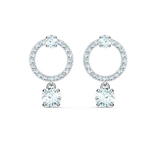 Swarovski Pendientes Attract Circle, blanco, baño de rodio