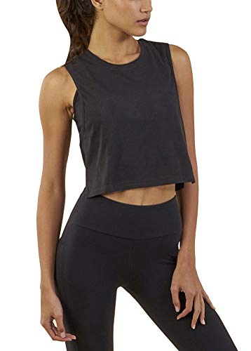 Mippo Women's Summer Sleveless Racerback Tops Workout Sports Gym Shirts Loose Fit Casual Crop Tank Tops for Women Black S