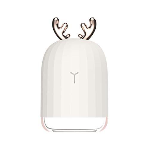 FKY USB LED Geweih Gestalten Aroma Diffuser 320ml Luftbefeuchter Ultraschall Vernebler für Kinderzimmer Schlafzimmer Büro (Weiß)