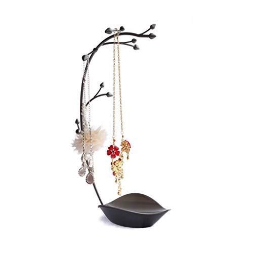 Jewelry Boxes Joyero para árbol de joyería, soporte para joyas, joyas, collares, pulseras, pendientes, almacenamiento de llaves (color: negro, tamaño: 22 x 14 x 38 cm)