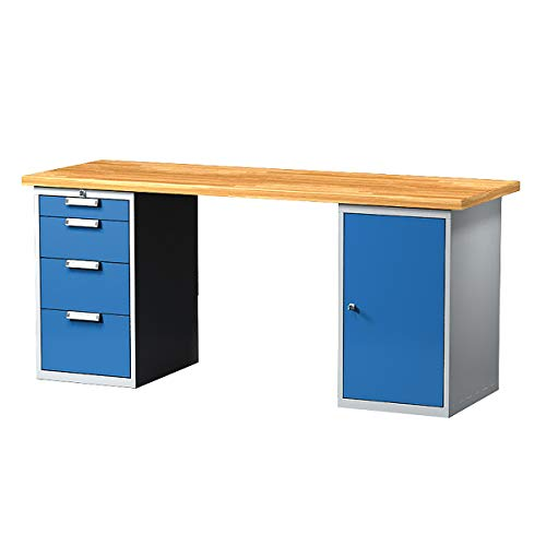 Certeo - Mesa de trabajo con cajones y armario, 4 cajones, 2000 mm de largo, mesa de trabajo, mesa multifunción, mesa de trabajo