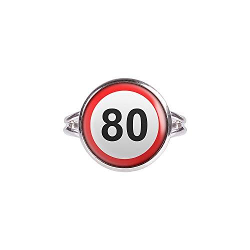 Mylery Ring mit Motiv Geburtstag Schild Zahl 80 Achtzig silber 14mm