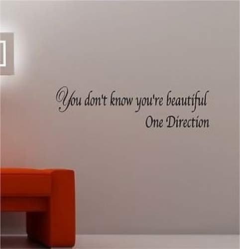 Online Design One Direction Beautiful Adesivo Vinile da Parete Lounge Musica Camera Citazione Girls - Nero