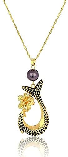 NC190 Collar de Moda para Mujer, Colgantes de Cola de pez, Cadenas de aleación de Color Dorado, Collares de Flores para Mujer, Regalos de Boda, Ragza
