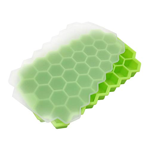 Honey Cube Honeycomb Tray 37 Silicone Cubes Ice Cube Making Mold met deksels voor Ice Cream Party Whisky Cocktail Cold Drink - Groen