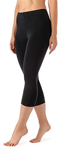 Merry Style Damen Leggings 3/4 aus Viskose MS10-144 (Schwarz, L)