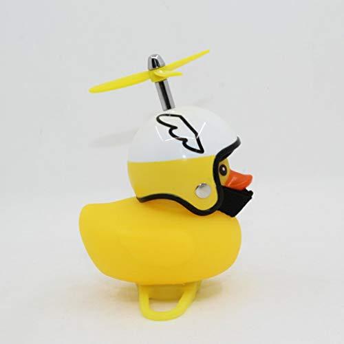 CandyTT Caricatura Little Yellow Duck Bike Bells Adecuado para Bicicleta Plegable MTB Bocina de Bicicleta Sonido Fuerte Accesorios de Bicicleta Anillo de Campana (yellowWing Casco Blanco)