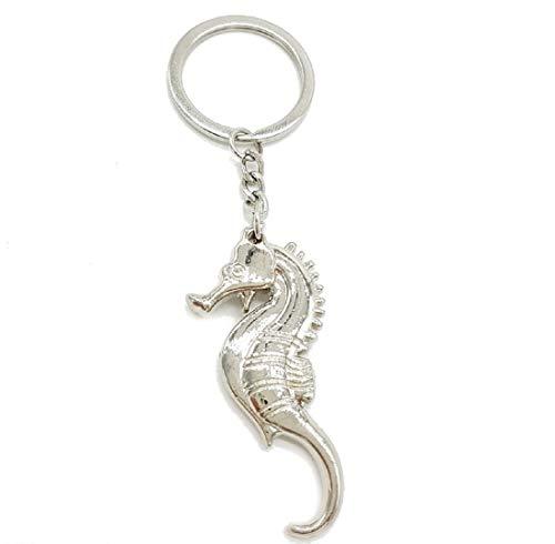 Schlüsselanhänger oder Anhänger Metall Seepferd massiv Metall 6cm Seepferdchen | Meer | See | Pferd | Fisch | Ozean | Geschenk für Frauen | Damen |