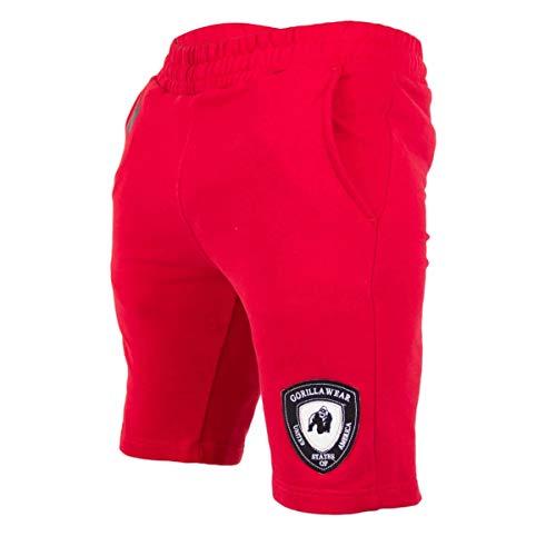 Gorilla Wear Los Angeles Sweat Shorts - rot - Bodybuilding und Fitness Short für Herren, M