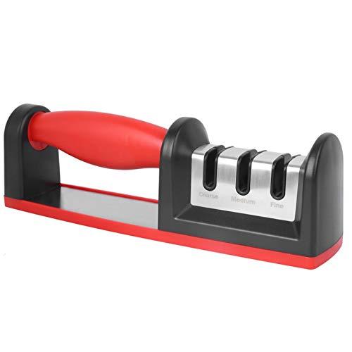 Afilador de cuchillos de cocina, afilado de cuchillos de 3 etapas para ayudar a reparar, restaurar, hojas de pulido (rojo), accesorios para cuchillos de cocina