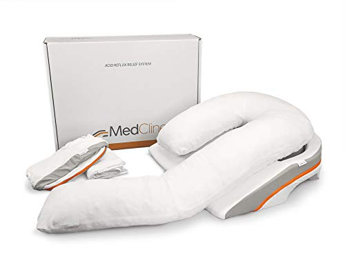 MedCline Acid Reflux and GERD Relief Bed Wedge and Body Pillow System Bundle with Extra Set of Cases, Size Large, Medical Grade and Clinically Proven Results, Removable Cover