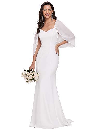 Ever-Pretty Vestiti da Sposa Sirena Lunghezza del Piano Spalline Sottili da Donna Stile Impero con Cappella Treno Bianco 44EU