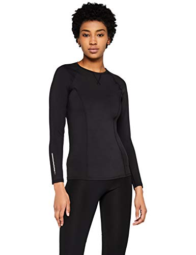 Amazon-Marke: AURIQUE Damen Sport Top Long Sleeve, Schwarz (Black), 38, Label:M