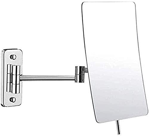 FHISD Espejo de Maquillaje Espejo de baño Montado en la Pared 3X Lupa 360 & deg;Eslabón Giratorio Plegable Extensible para Afeitado Cromado de tocador de Hotel en Dormitorio o baño