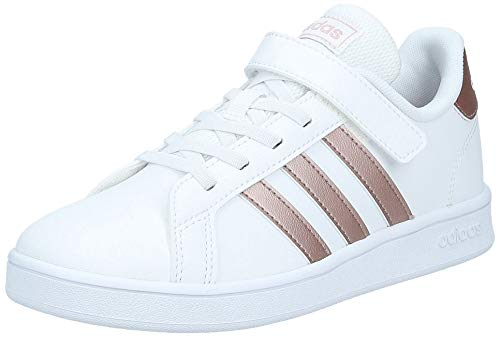 adidas Grand Court C, Sneaker, Footwear White/Vapour Grey Metallic/Light Granite, 34 EU