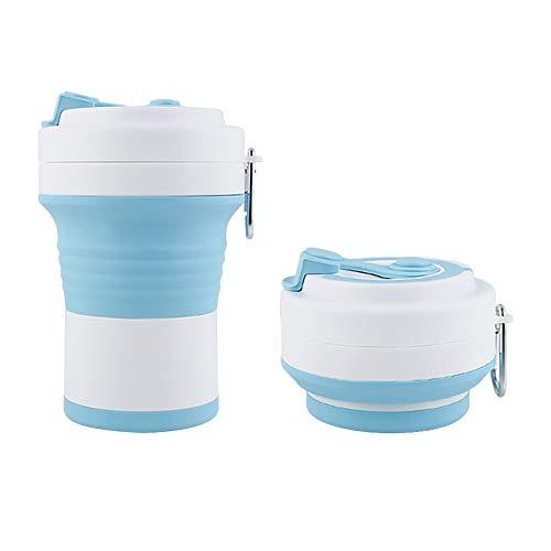 ukoudadao9haowanh Silikon-Kaffeetasse, wiederverwendbar, tragbar, faltbar, leicht, Camping-Becher mit Deckel für Wandern, Reisen, Sport, Klettern, hellblau
