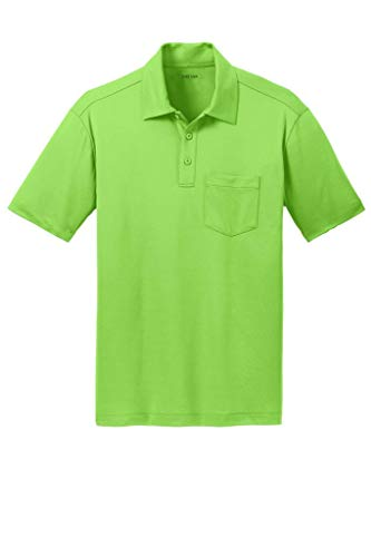 Joe's USA Men's Silk Touch Golf Pocket Polo-Lime-3XL
