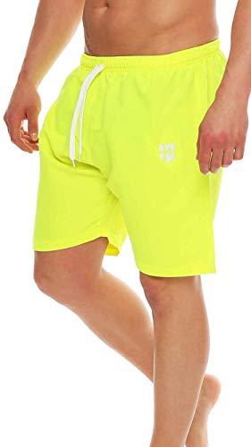 Gennadi Hoppe Herren Badeshorts Badehose Beach Shorts Schwimmshort,Neongelb, X-Large